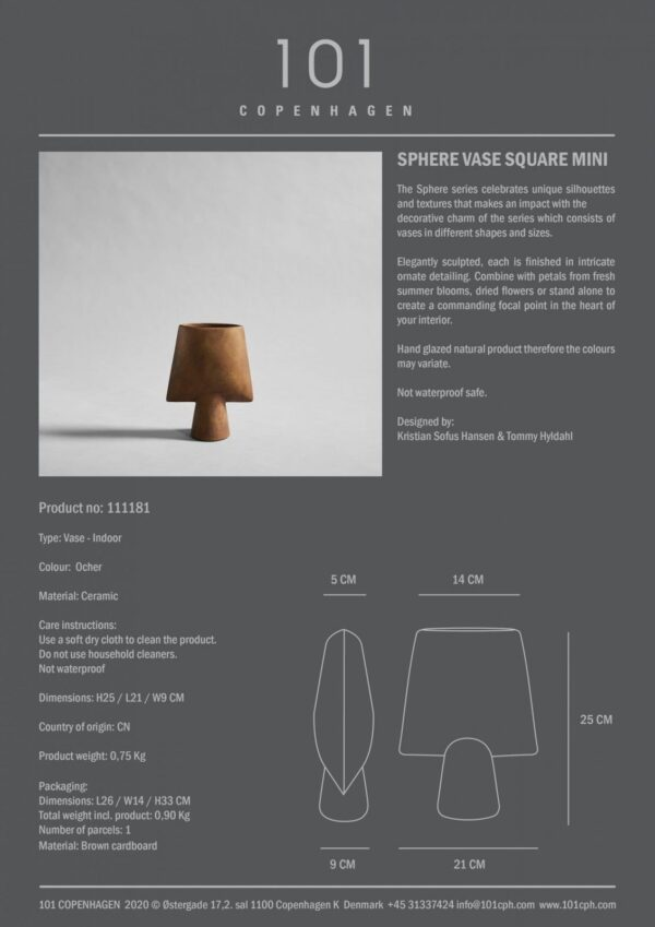 Sphere Vase Square Mini Ocher Info
